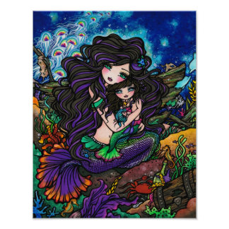 Mom & Baby Mermaid Fantasy Marine Art Hannah Lynn Poster