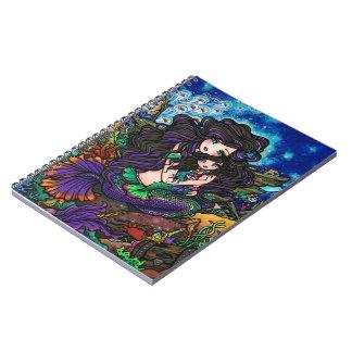 Mom & Baby Mermaid Fantasy Marine Art Hannah Lynn Spiral Notebook