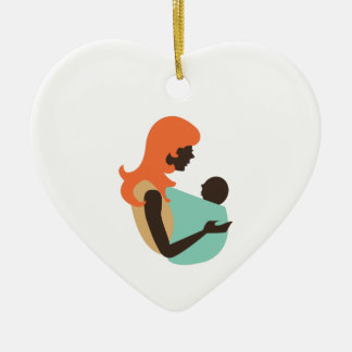 Mom & Baby Double-Sided Heart Ceramic Christmas Ornament