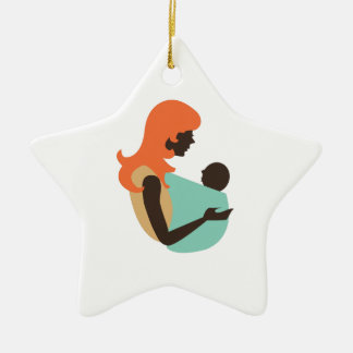 Mom & Baby Double-Sided Star Ceramic Christmas Ornament