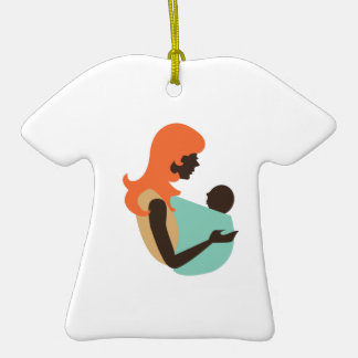 Mom & Baby Double-Sided T-Shirt Ceramic Christmas Ornament