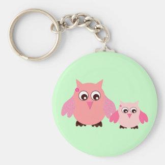 Mom & baby owl basic round button keychain
