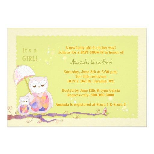 mom baby owls baby girl baby shower invitations 5 x 7 invitatio
