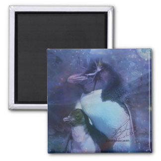 Mom & Baby Penguin in Moonlight 2 Inch Square Magnet
