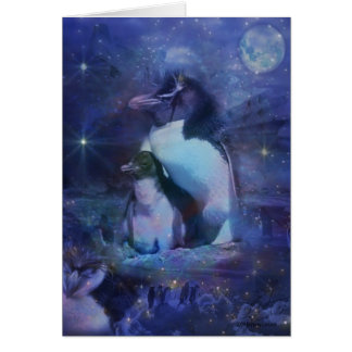 Mom & Baby Penguin in Moonlight Card