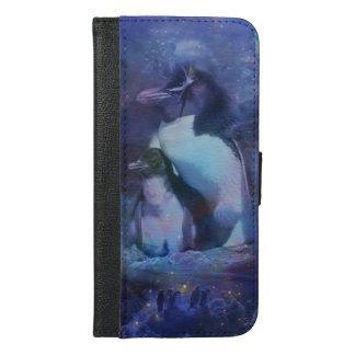 Mom & Baby Penguin in Moonlight iPhone 6/6s Plus Wallet Case