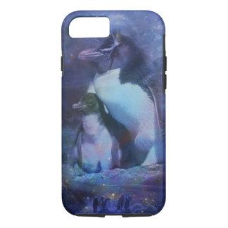 Mom & Baby Penguin in Moonlight iPhone 7 Case