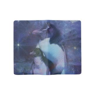 Mom & Baby Penguin in Moonlight Large Moleskine Notebook