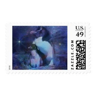 Mom & Baby Penguin in Moonlight Postage