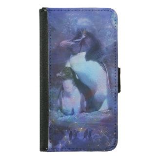 Mom & Baby Penguin in Moonlight Samsung Galaxy S5 Wallet Case