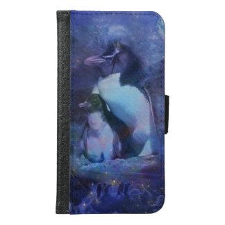 Mom & Baby Penguin in Moonlight Samsung Galaxy S6 Wallet Case