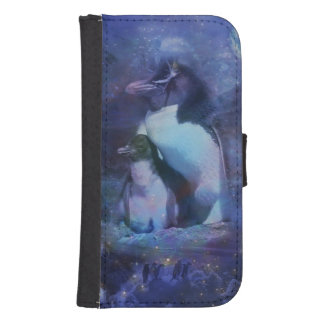 Mom & Baby Penguin in Moonlight Wallet Phone Case For Samsung Galaxy S4