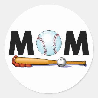 Mom Baseball Bat and Ball Classic Round Sticker
