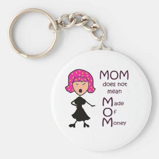 mom basic round button keychain