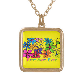 mom best mom ever flowers gold plated necklace
