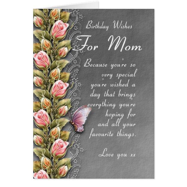mom birthday card birthday card with roses and b Zazzlecom