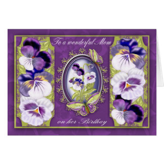 Mom Birthday Card With Butterflies And Pansies