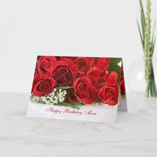 Mom Birthday Card With Red Roses Zazzle