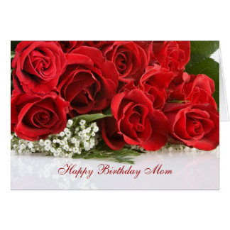 Mom Birthday card with red roses