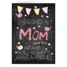 Mom Birthday Chalkboard With Little Birds Flowers Card