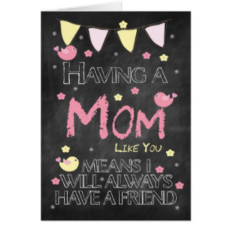 Mom Birthday Chalkboard With Little Birds Flowers Card