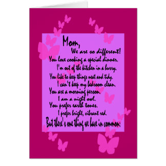 Mom Birthday: Different But The Same, Full Verse 2 Card