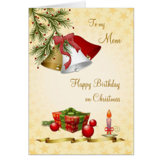 Mom, Birthday on Christmas card with bells, candle