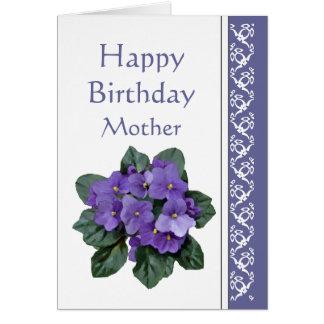 Mom Birthday, Poem African Violet Purple Flower Card