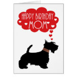 Mom Birthday With Silhouette Scottish Terrier Card