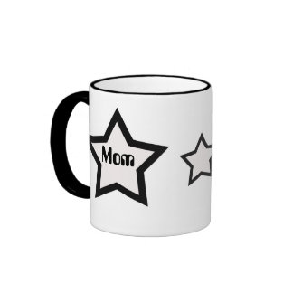 Mom, black and white star mug