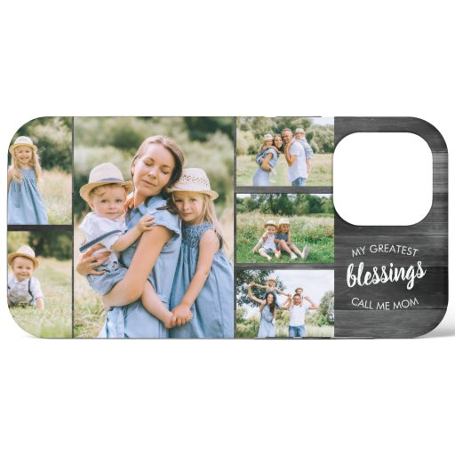 Mom Blessings Quote 6 Photo Collage Rustic Grey iPhone 12 Pro Max Case