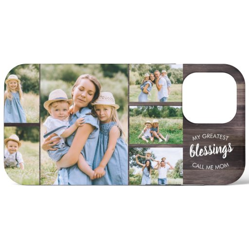 Mom Blessings Quote 6 Photo Collage Rustic Wood iPhone 12 Pro Max Case