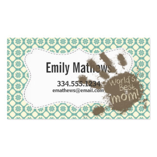 Mom; Blue-Green & Cream Floral Business Card