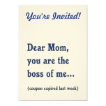 "Mom Boss of Me 5"" X 7"" Invitation Card"