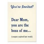 "Mom Boss of Me 5"" X 7"" Invitation Card"