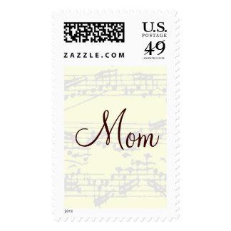 Mom Brown Vintage Music Postage Postage Stamps