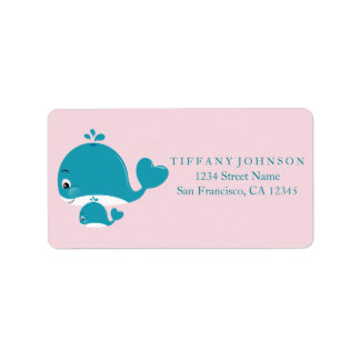 Mom Bub Whale Girl Baby Shower Blue Address Labels