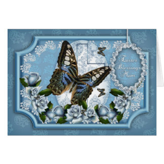 Mom, Butterfly And Rose Easter Greeting Card