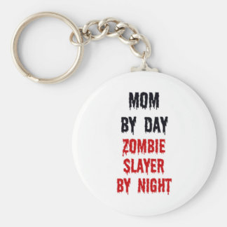 Mom By Day Zombie Slayer By Night Basic Round Button Keychain