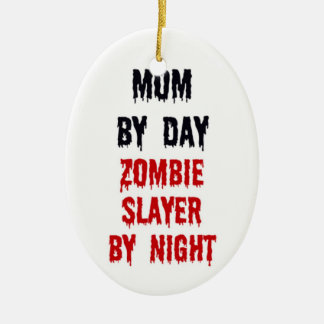 Mom by Day Zombie Slayer by Night Double-Sided Oval Ceramic Christmas Ornament