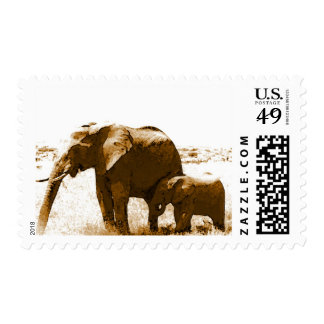 Mom & Calf Elephants Postage Stamps