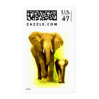 Mom & Calf Elephants Walking Postage