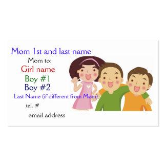 Mom Card Girl Boy Boy Business Card Templates