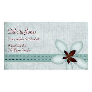 Mom & Child Business Card - Blue Ribbon & Flower