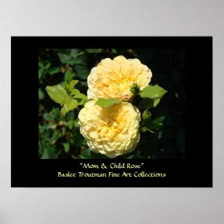 Mom & Child Rose! art print Yellow Rose Flowers