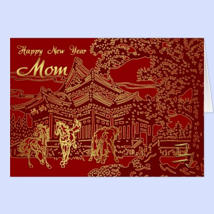 Mom Chinese New Year, Year Of The Horse Greeting Card