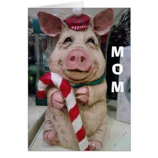 MOM=CHRISTMAS PIGGY-NO MARKET-JUST CHRISTMAS WISH GREETING CARD