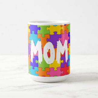 Mom Colorful Jigsaw Puzzle Pieces Happy Puzzler Coffee Mug