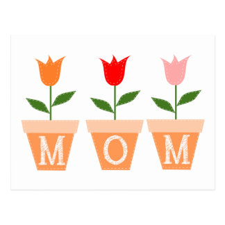MOM (Colorful Tulips in Clay Flower Pots) Postcard
