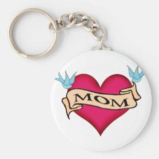 Mom - Custom Heart Tattoo T-shirts & Gifts Keychain